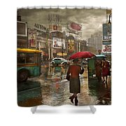 City - Ny - Times Square On A Rainy Day 1943 Shower Curtain