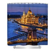 City Of Budapest At Twilight Shower Curtain