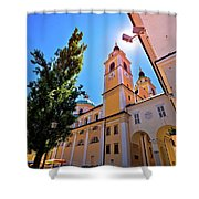 City Of Ljubljana Church And Square View Shower Curtain