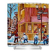 City Of Montreal St. Urbain And Mont Royal Beautys With Hockey Shower Curtain