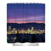 City Of Portland Oregon Skyline At Twilight Shower Curtain