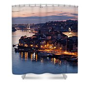 City Of Porto In Portugal At Dusk Shower Curtain