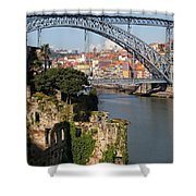 City Of Porto In Portugal Picturesque Scenery Shower Curtain
