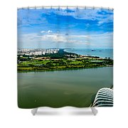 City Of Singapore And Blue Sky Shower Curtain