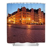 City Of Wroclaw Old Town Market Square At Night Shower Curtain