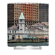 City Pier A And Pier A Harbor House In New York City Shower Curtain