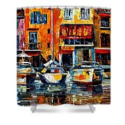 City Pier - Palette Knife Oil Painting On Canvas By Leonid Afremov Shower Curtain