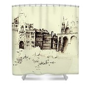 City Rendering Shower Curtain