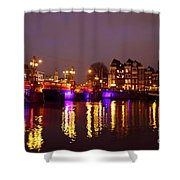 City Scenic From Amsterdam With The Blue Bridge In The Netherlands Shower Curtain