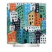 City Stories- Blue And Orange Shower Curtain