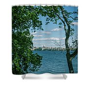 City Through The Trees Shower Curtain