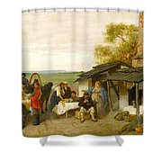 City Travellers Being Offered Fruit Shower Curtain