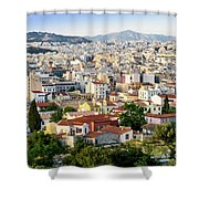City View Of Old Buildings In Athens, Greece Shower Curtain