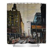 City With Barrels Shower Curtain