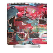 Citysacpe At Twilight  Original Abstract Colorful Landscape Painting For Sale Red Blue  Shower Curtain