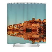 Cityscape For The Beautiful Nubian City Aswan In Egypt At The Golden Hour Of The Sunset Time. Shower Curtain