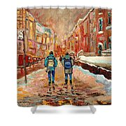 Cityscape In Winter Shower Curtain