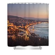 Cityscape Of Budapest, Hungary At Night And Day Shower Curtain