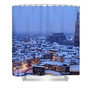 Cityscape Of Utrecht With The Dom Tower  In The Snow 13 Shower Curtain