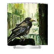Cityscape With A Crow Shower Curtain