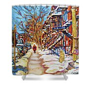 Cityscene In Winter Shower Curtain