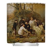 Claiming The Shot - After The Hunt In The Adirondacks Shower Curtain by John George Brown