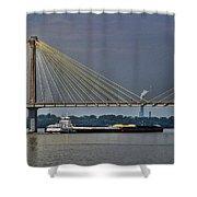 Clark Bridge And Barge  Shower Curtain