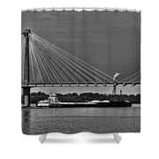 Clark Bridge And Barges In Black And White  Shower Curtain