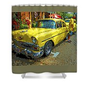 Classic 56 Chevy Car Yellow  Shower Curtain