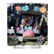 Classic Car Day Of Dead Decor Trunk Shower Curtain