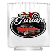 Classic Car Garage With Gto Shower Curtain