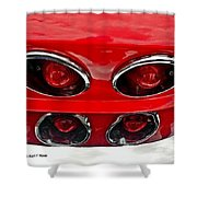 Classic Car Tail Lights Reflection Shower Curtain