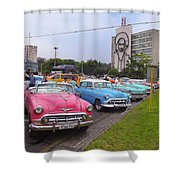 Classic Cars In Revolutionary Square Cuba Shower Curtain