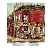 Classic Chinese Restaurant Montreal Memories Silver Dragon Canadian Paintings Carole Spandau         Shower Curtain