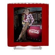 Classic Coca-cola Cowboy Shower Curtain by James Sage