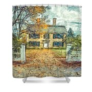 Classic Colonial Home In Autumn Pencil Shower Curtain