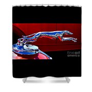 Classic Ford Greyhound Hood Ornament Shower Curtain