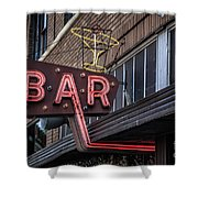 Classic Neon Sign For A Bar Livingston Montana Shower Curtain