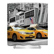Classic Street View Of Yellow Cabs In New York City Shower Curtain