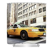 Classic Street View With Yellow Cabs In New York City Shower Curtain