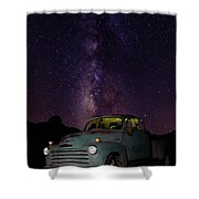 Classic Truck Under The Milky Way Shower Curtain by James Sage