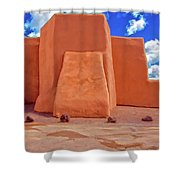 Classic View Of Ranchos Church As Oil Shower Curtain