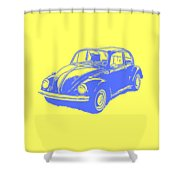 Classic Vw Beetle Tee Blue Ink Shower Curtain