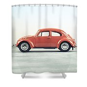 Classic Vw Bug Red Shower Curtain