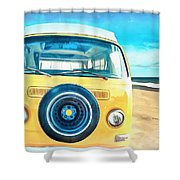 Classic Vw Camper On The Beach Shower Curtain
