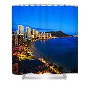 Classic Waikiki Nightime Shower Curtain