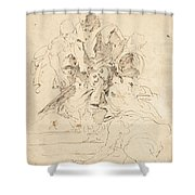 Classical Figures Gathered Around An Urn Shower Curtain