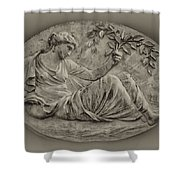 Classical Greek Woman Fresco Shower Curtain by Bill Cannon