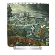Classical Landscape With Ships Running Before A Storm Towards A Classical Harbour Probably Corinth Shower Curtain