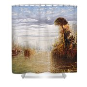 Classical River Landscape With Figures On The Steps Below A Temple Embarking Boats Shower Curtain